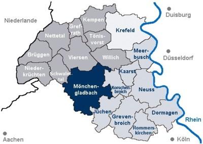 Karte Niederrhein.Kreishandwerkerschaft Niederrhein Versorgungswerk